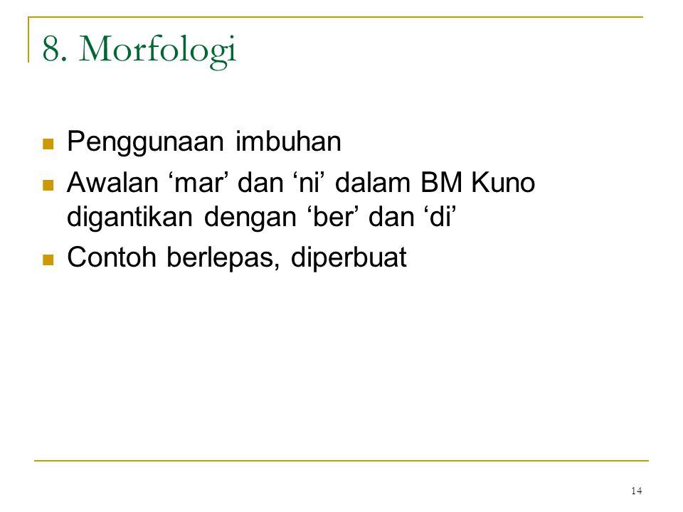 8. Morfologi Penggunaan imbuhan