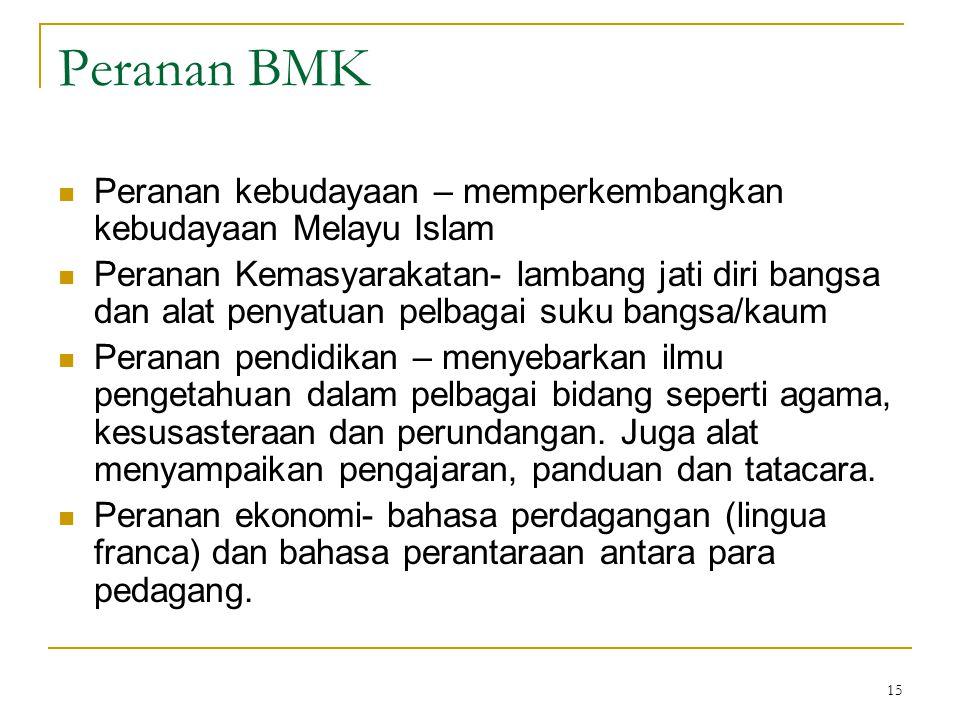Peranan BMK Peranan kebudayaan – memperkembangkan kebudayaan Melayu Islam.