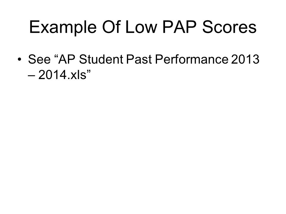 Example Of Low PAP Scores