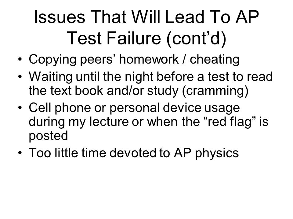 Issues That Will Lead To AP Test Failure (cont'd)