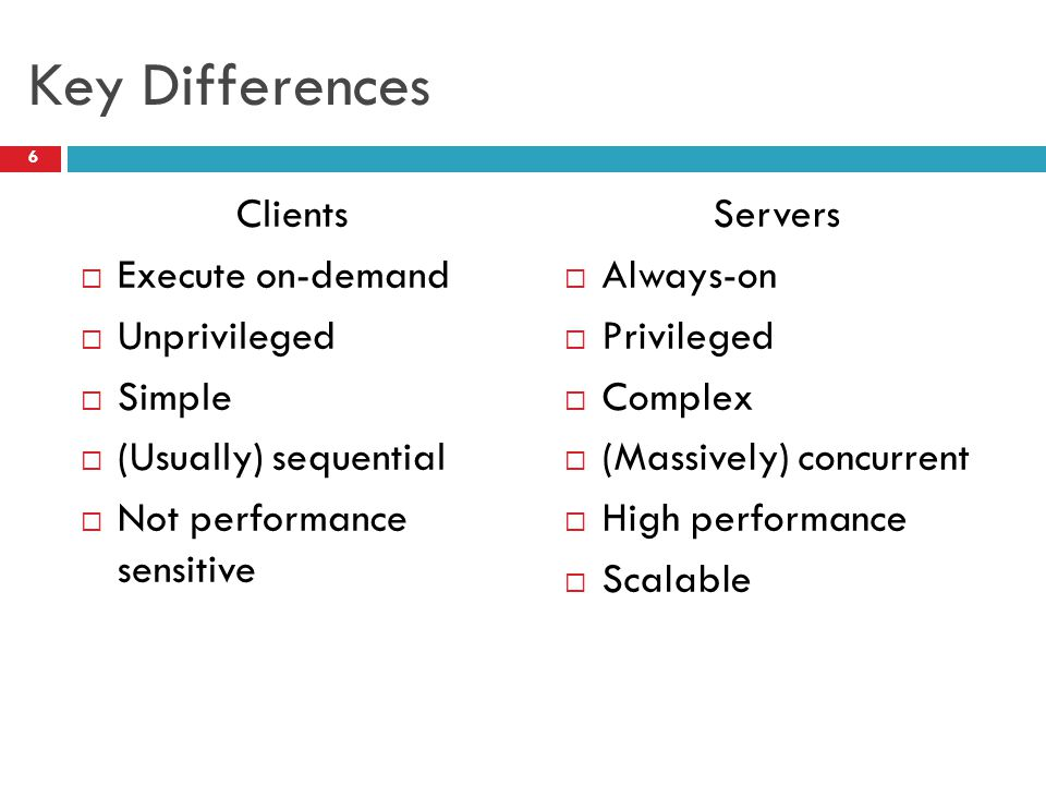 Key Differences Clients Execute on-demand Unprivileged Simple