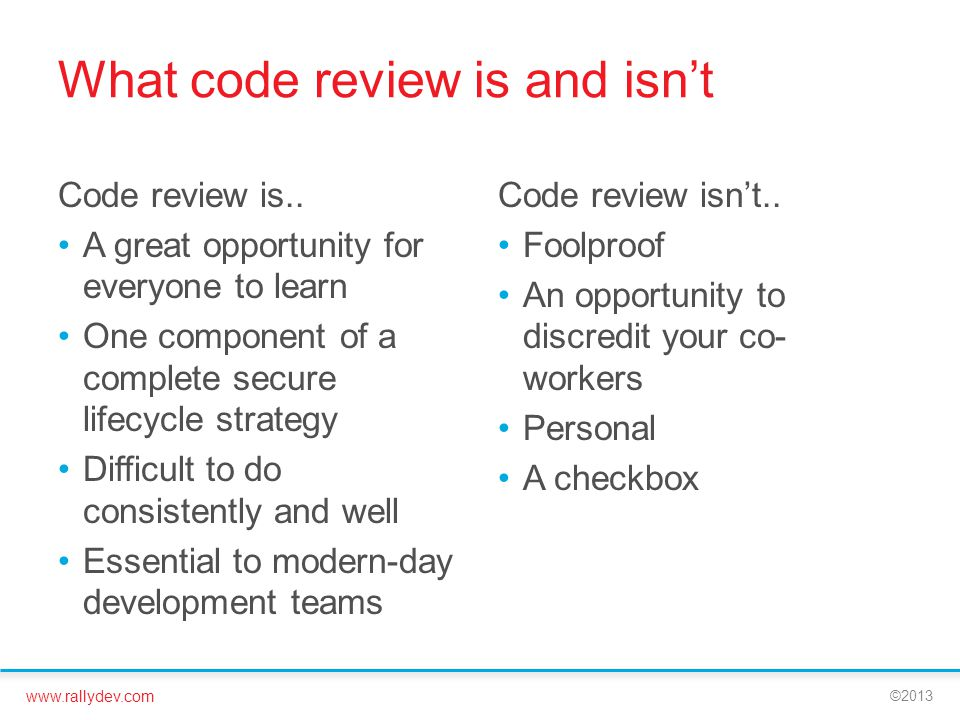 What code review is and isn't