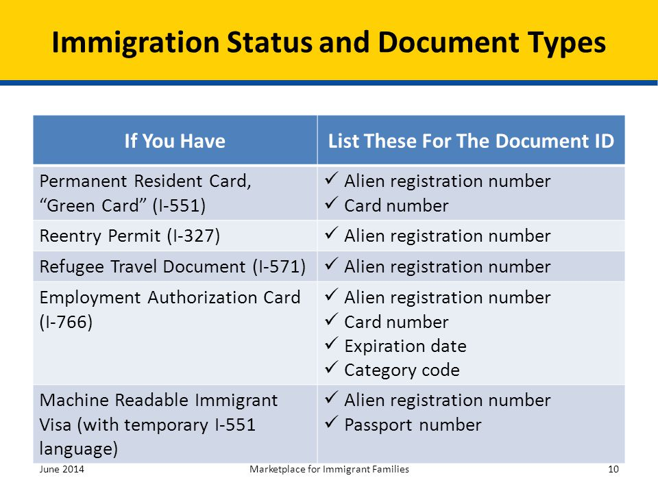 Immigration Status and Document Types