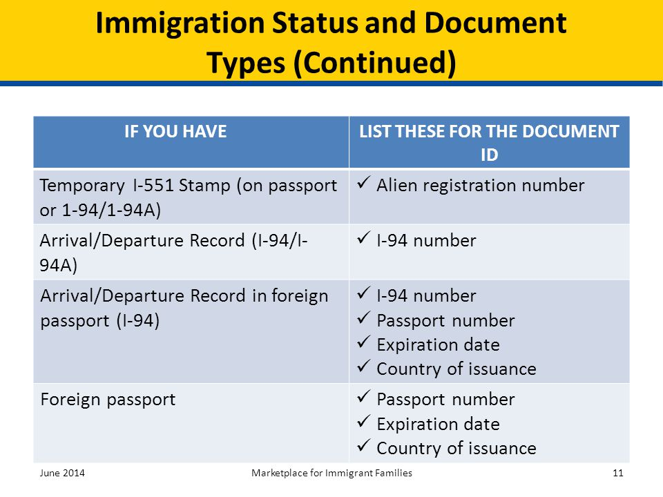 Immigration Status and Document Types (Continued)