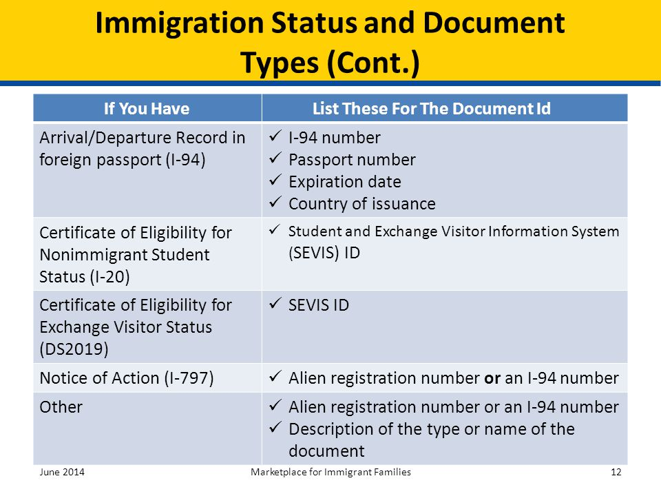 Immigration Status and Document Types (Cont.)
