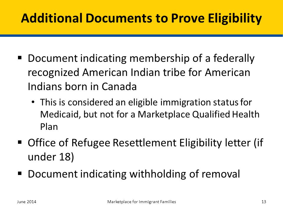 Additional Documents to Prove Eligibility
