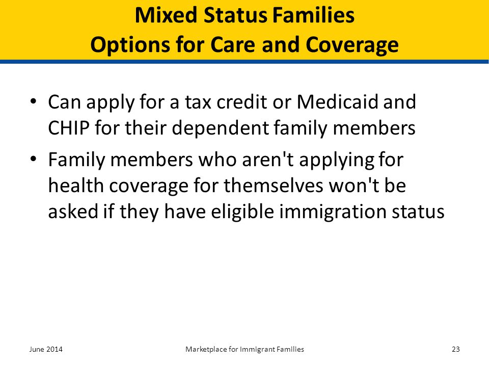 Mixed Status Families Options for Care and Coverage