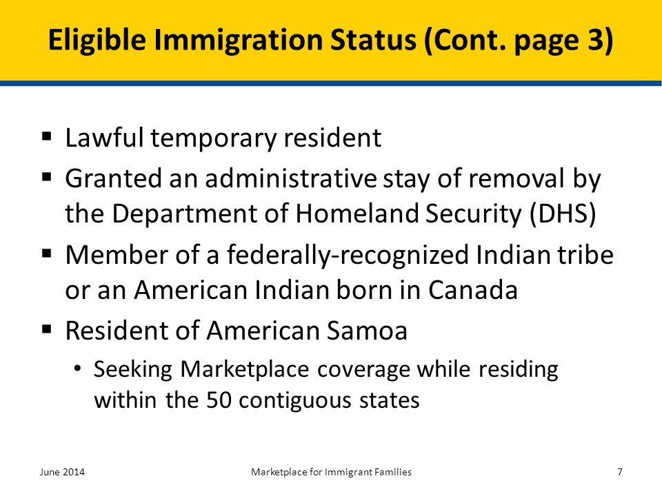 Eligible Immigration Status (Cont. page 3)