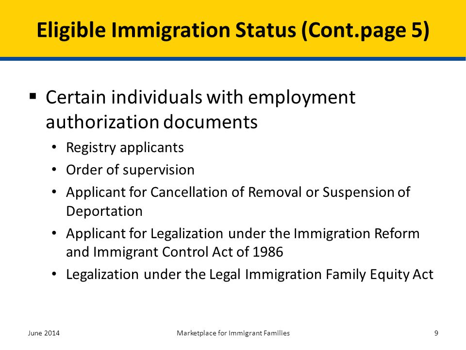 Eligible Immigration Status (Cont.page 5)