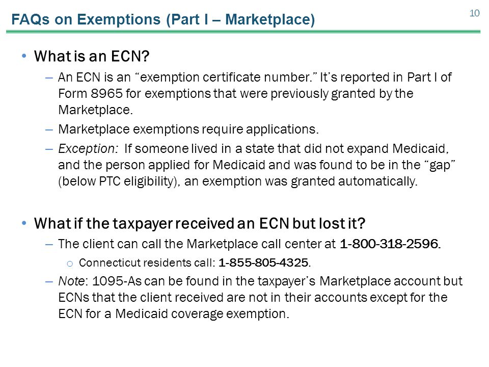 FAQs on Exemptions (Part I – Marketplace)