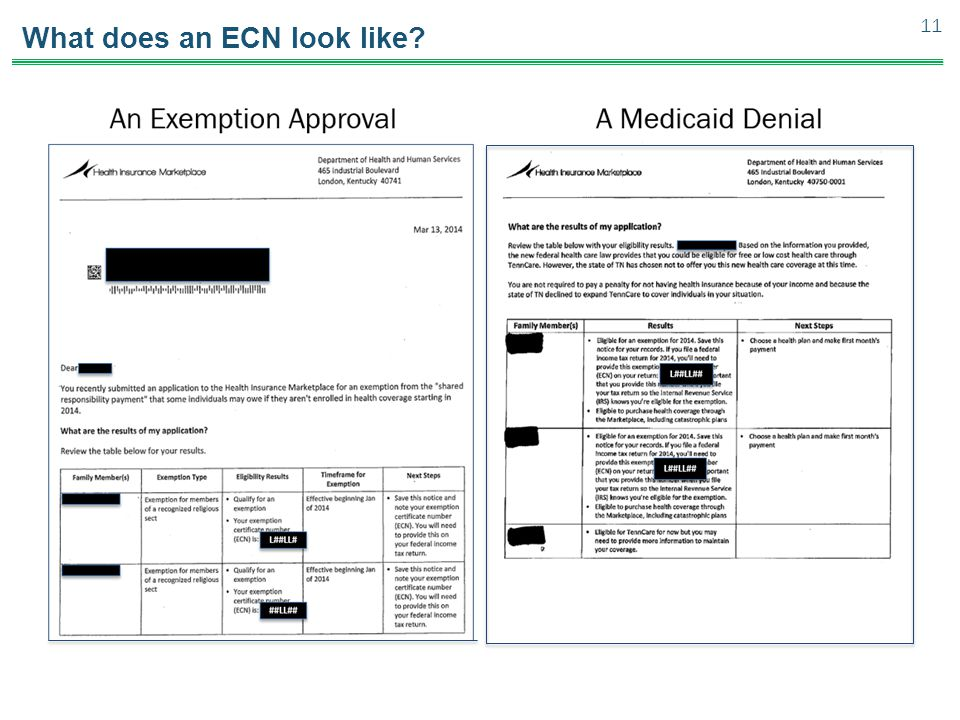 What does an ECN look like