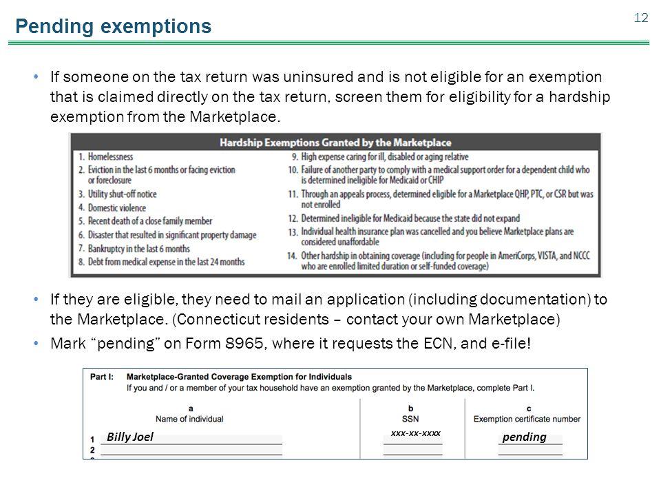 Pending exemptions