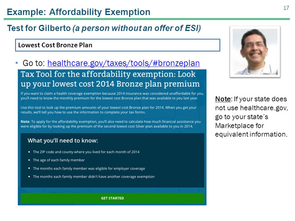 Example: Affordability Exemption