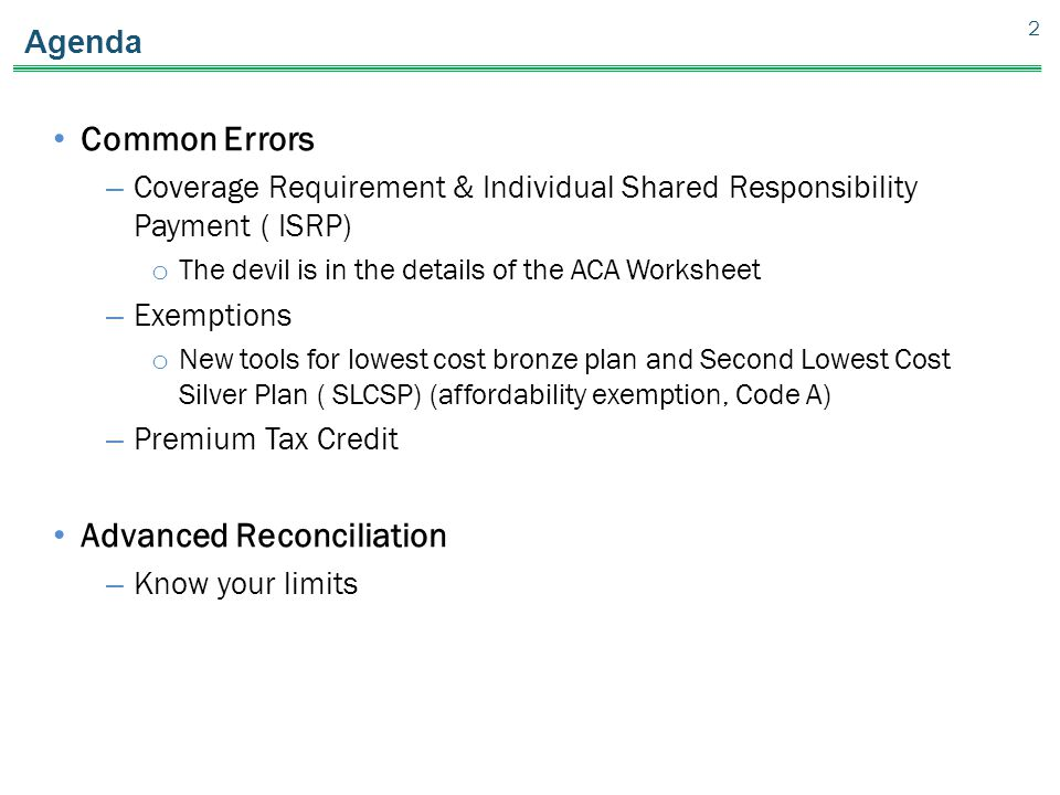 Part V Common Errors Introduction to Advanced Reconciliation – Exemption Worksheet
