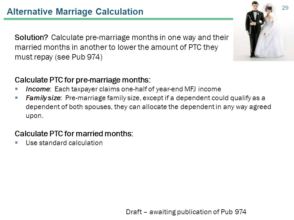 Alternative Marriage Calculation