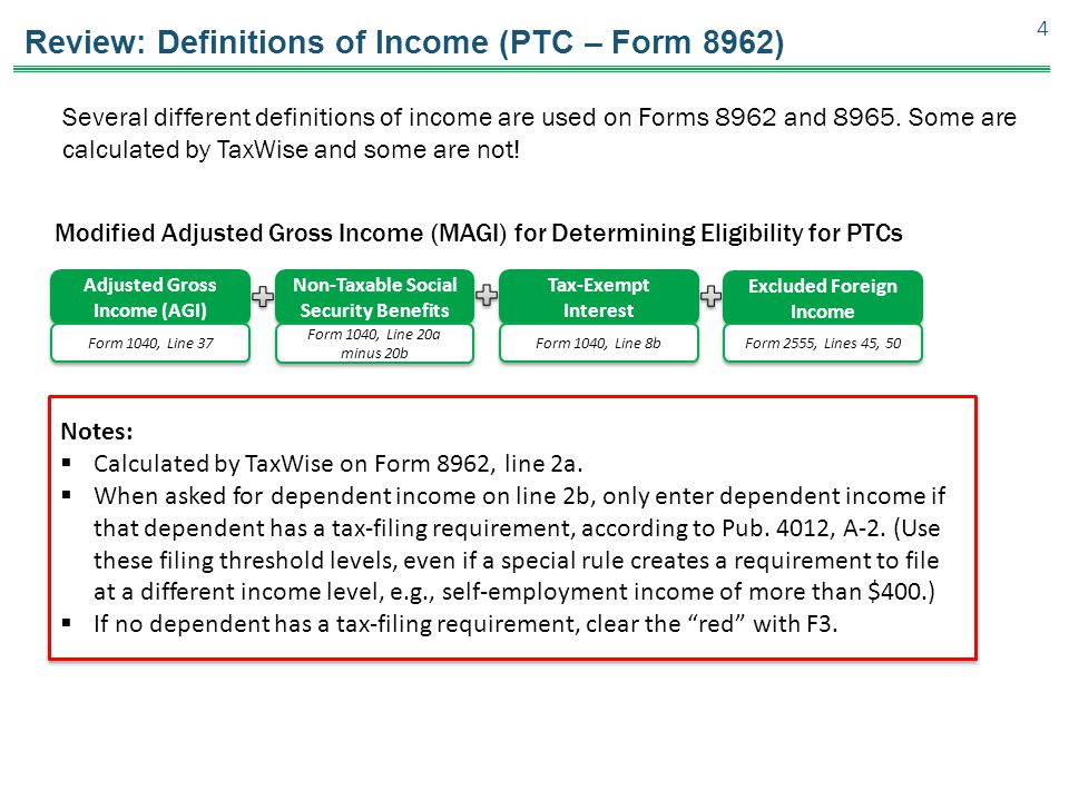 Review: Definitions of Income (PTC – Form 8962)