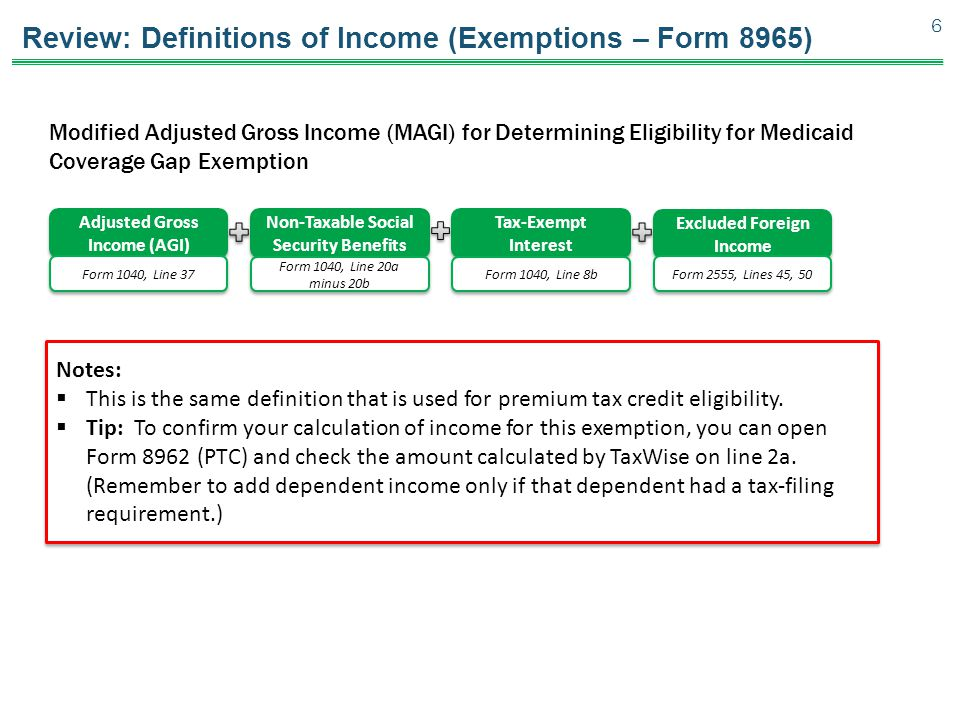 Review: Definitions of Income (Exemptions – Form 8965)