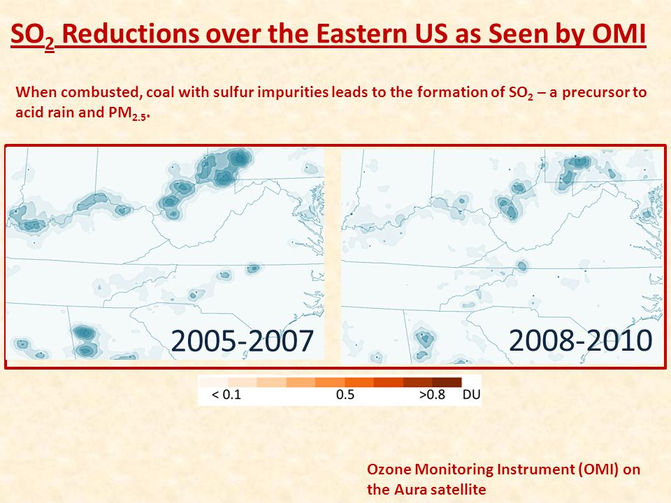 2005-2007 2008-2010 SO2 Reductions over the Eastern US as Seen by OMI