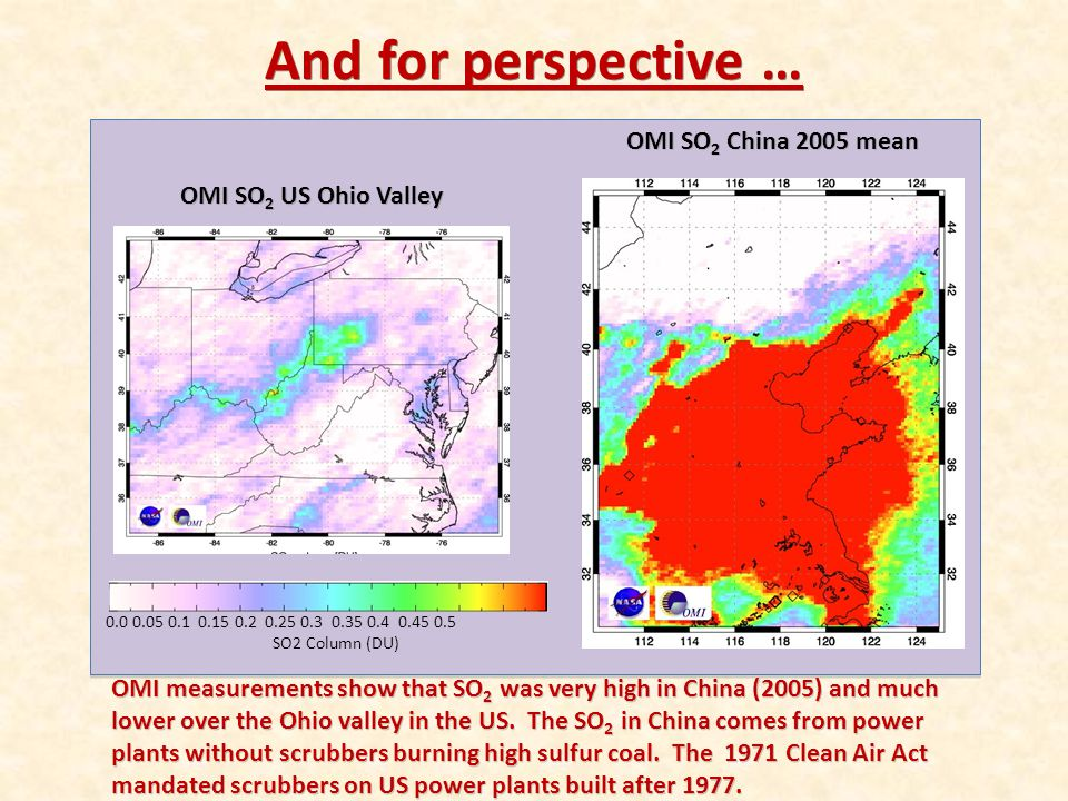 And for perspective … OMI SO2 China 2005 mean OMI SO2 US Ohio Valley