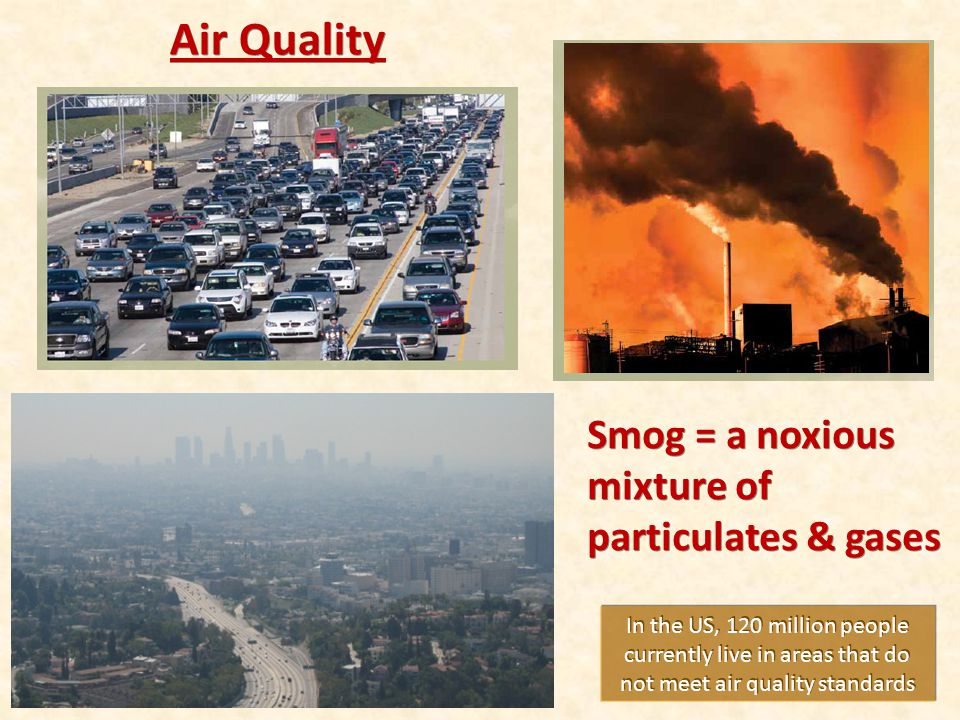 Air Quality Smog = a noxious mixture of particulates & gases
