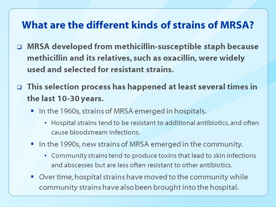 What are the different kinds of strains of MRSA