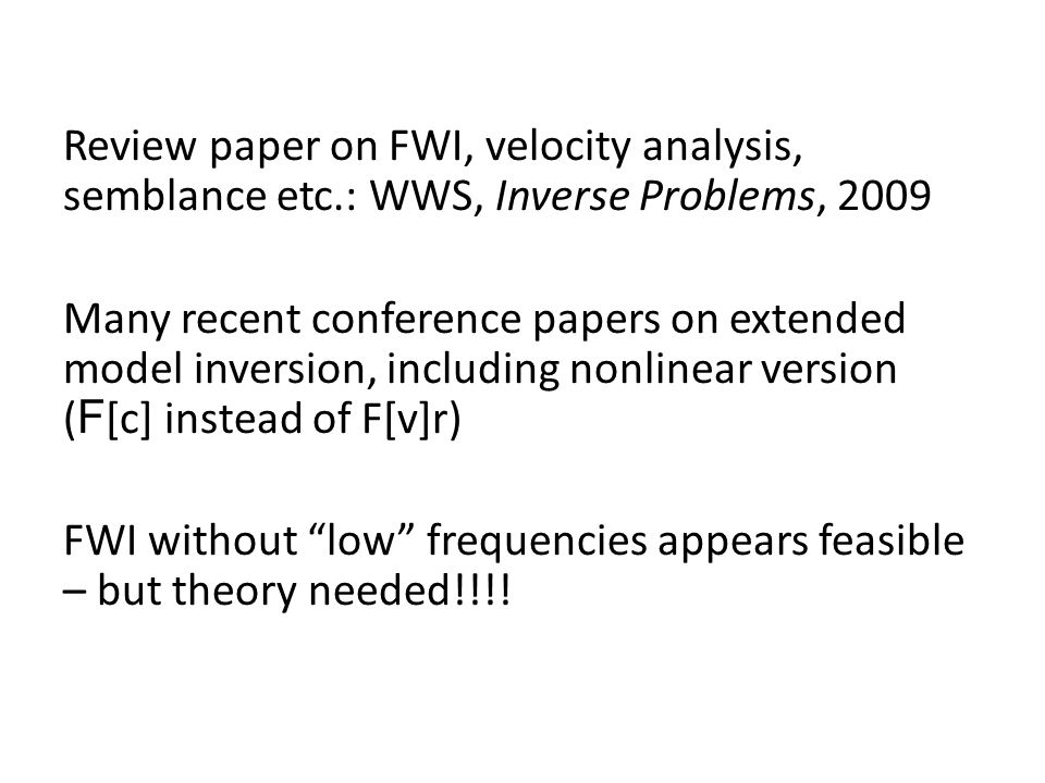 Review paper on FWI, velocity analysis, semblance etc