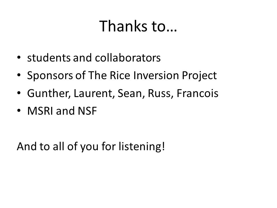 Thanks to… students and collaborators