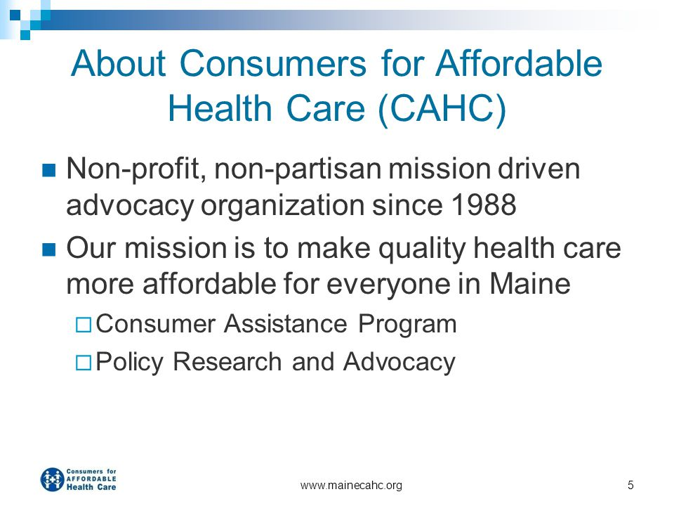 About Consumers for Affordable Health Care (CAHC)