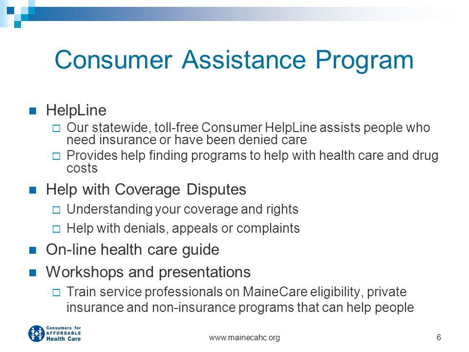 Consumer Assistance Program