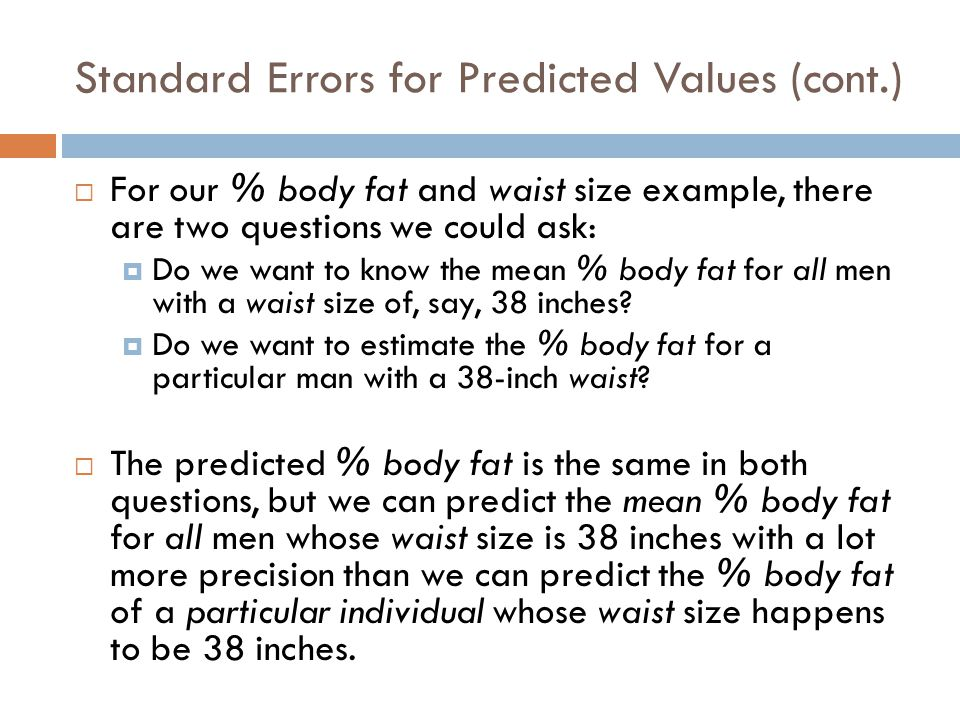 Standard Errors for Predicted Values (cont.)