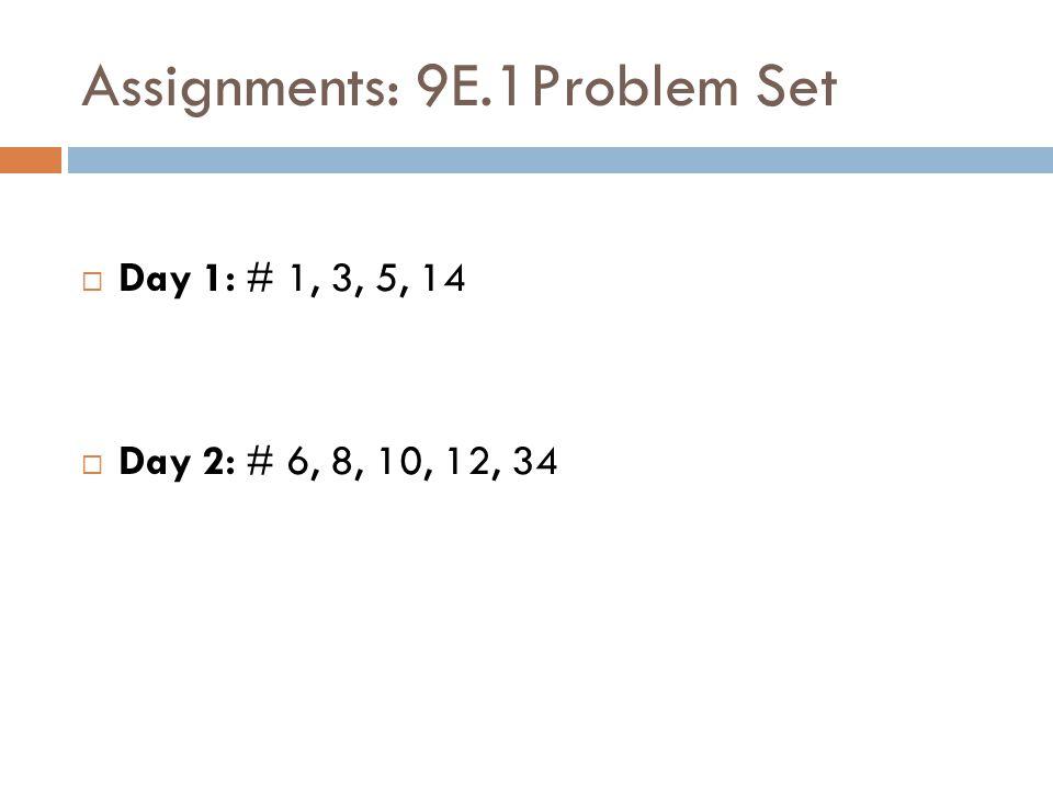 Assignments: 9E.1Problem Set