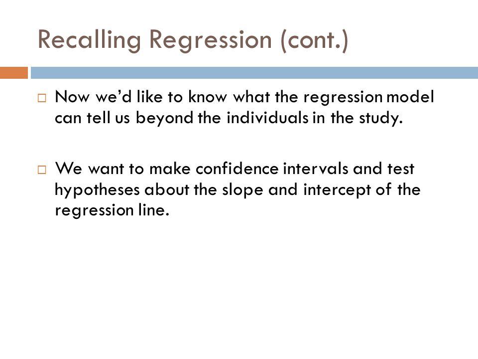 Recalling Regression (cont.)