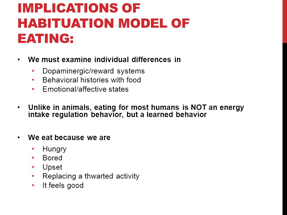 Implications of habituation model of eating: