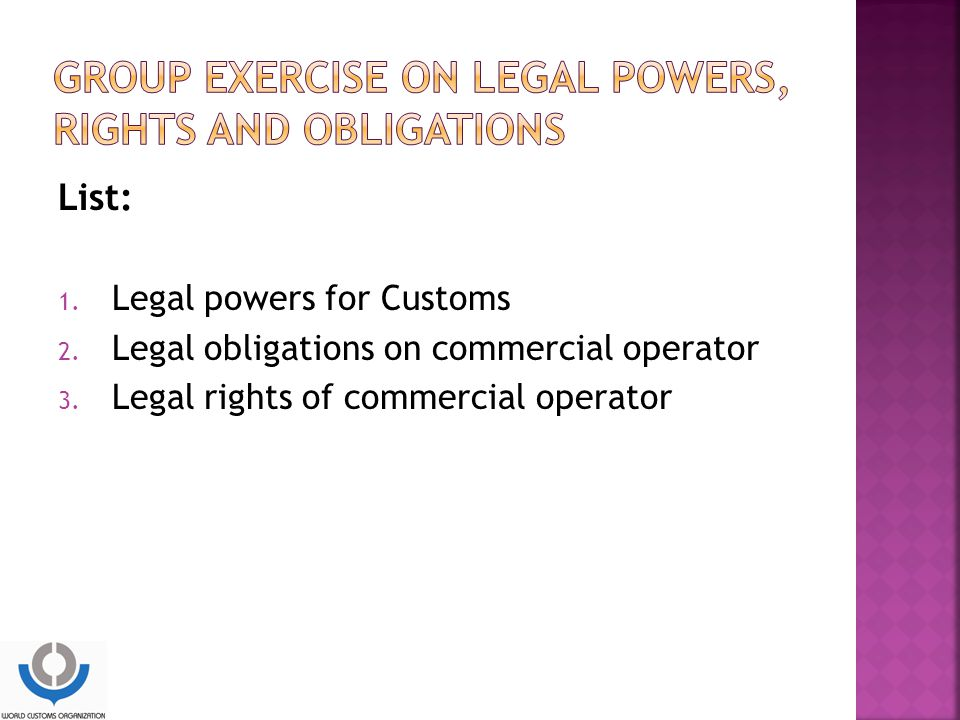 GROUP EXERCISE ON LEGAL POWERS, RIGHTS AND OBLIGATIONS