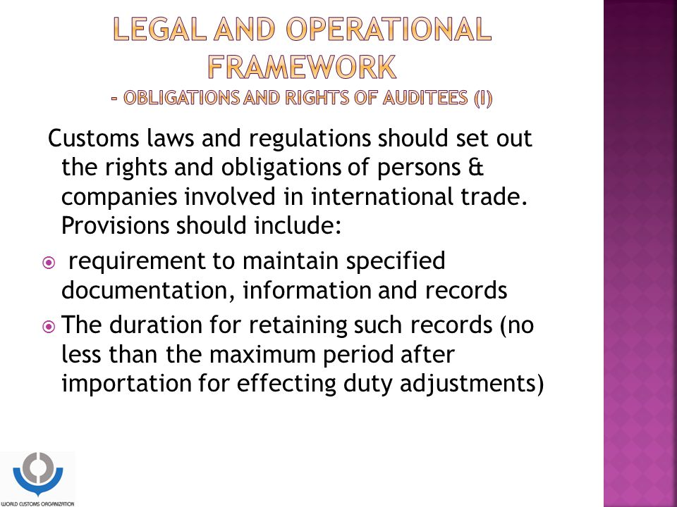 LEGAL and operational framework - Obligations and rights of auditees (I)