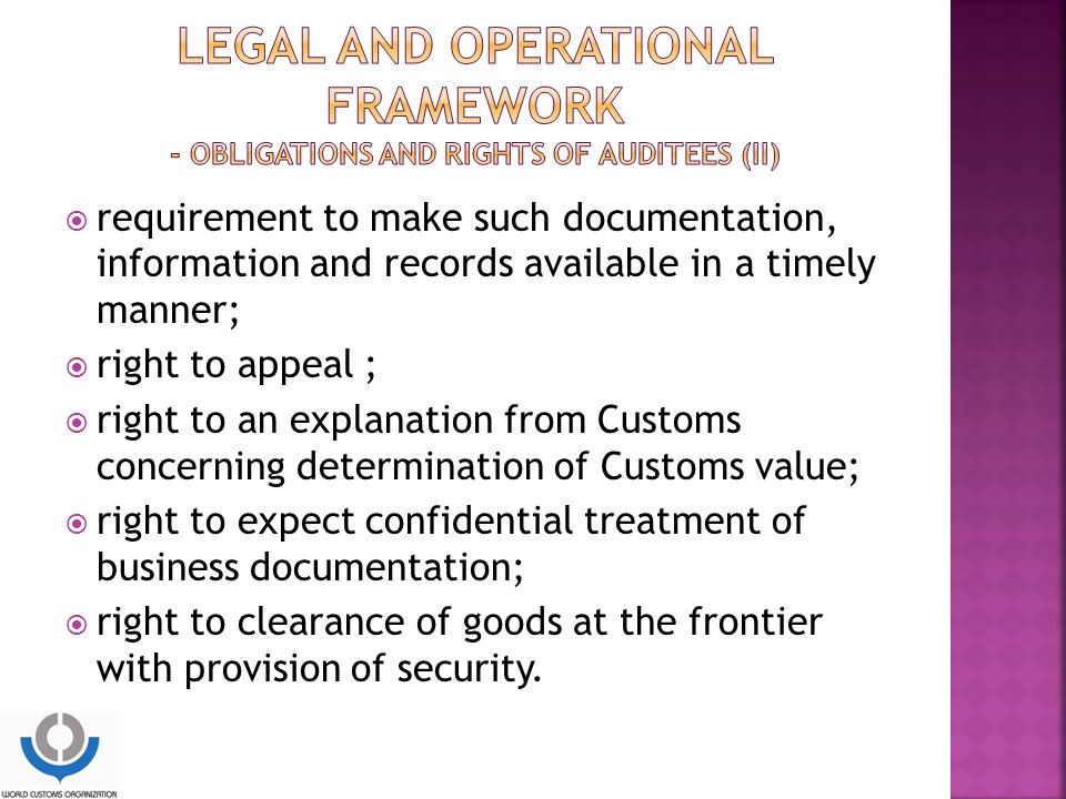 LEGAL and operational framework - Obligations and rights of auditees (II)