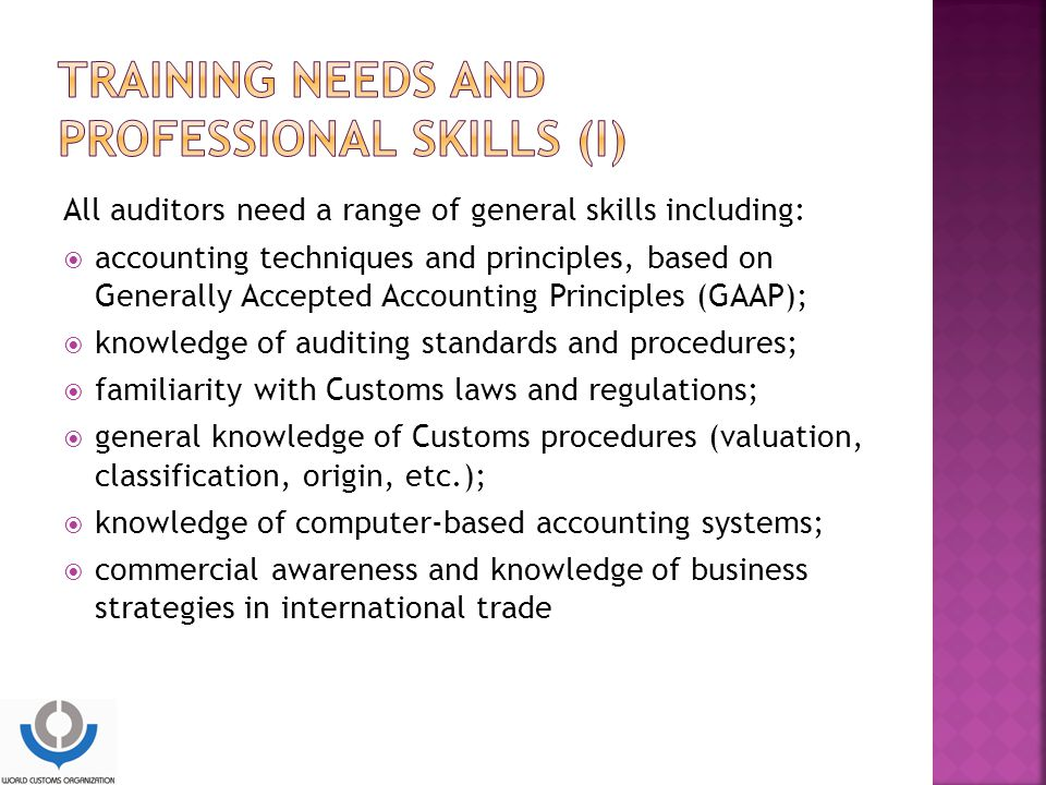 Training needs and professional skills (I)