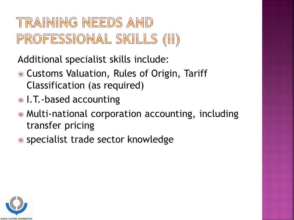 Training needs and professional skills (II)