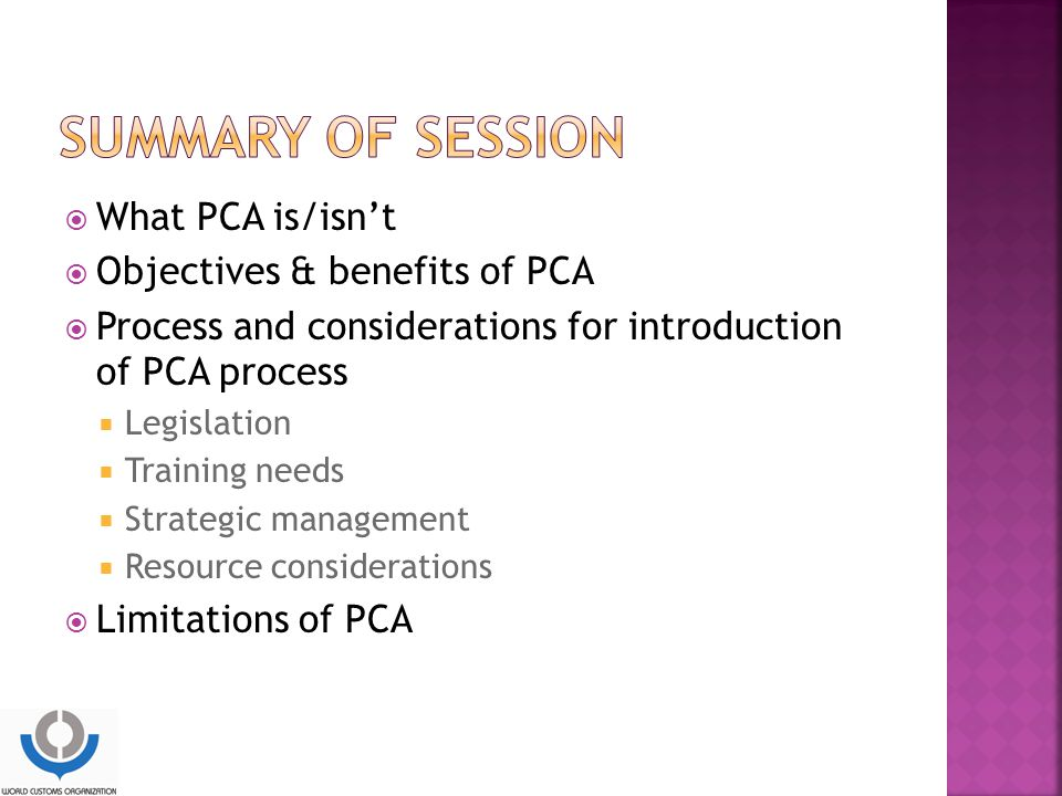 SUMMARY OF SESSION What PCA is/isn't Objectives & benefits of PCA