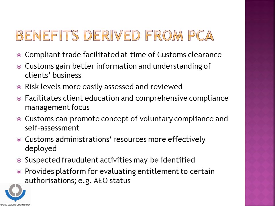 Benefits derived from PCA