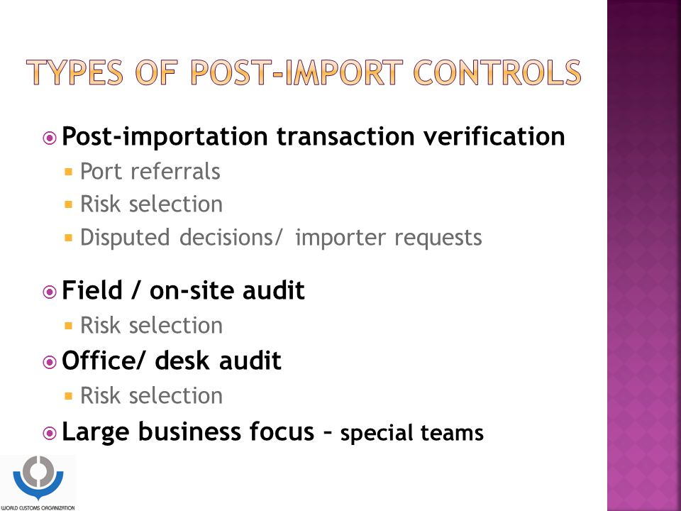 Types of post-import controls