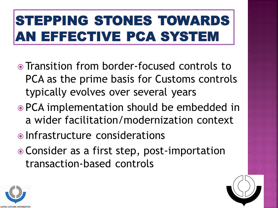 STEPPING STONES TOWARDS AN EFFECTIVE PCA SYSTEM
