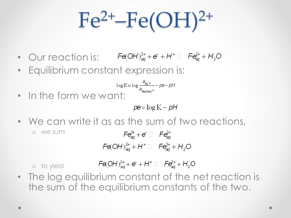 Fe2+–Fe(OH)2+ Our reaction is: Equilibrium constant expression is: