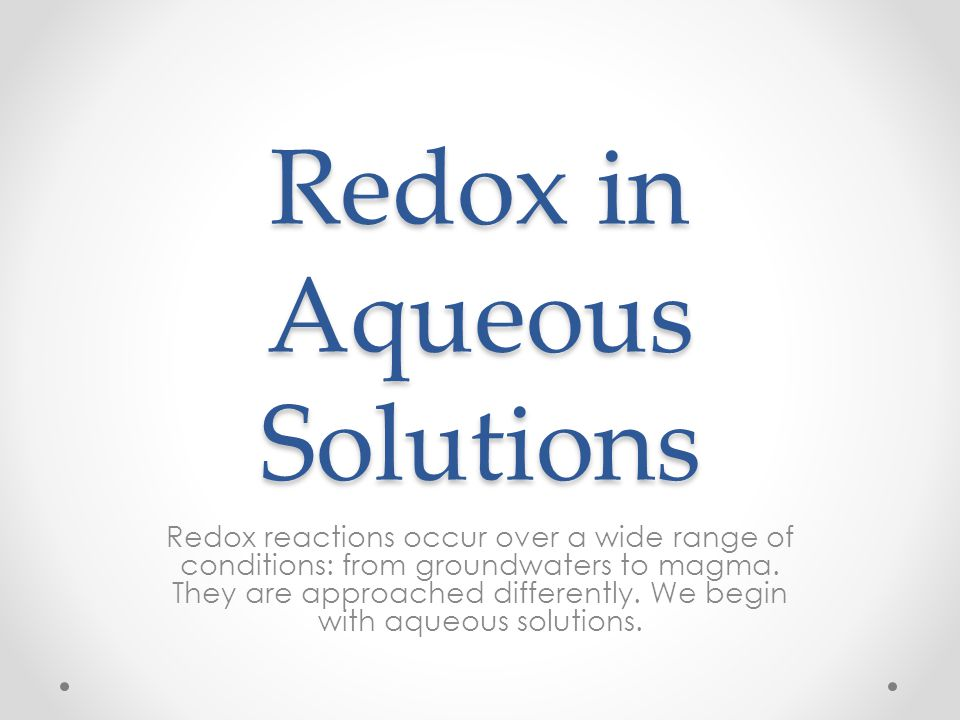 Redox in Aqueous Solutions