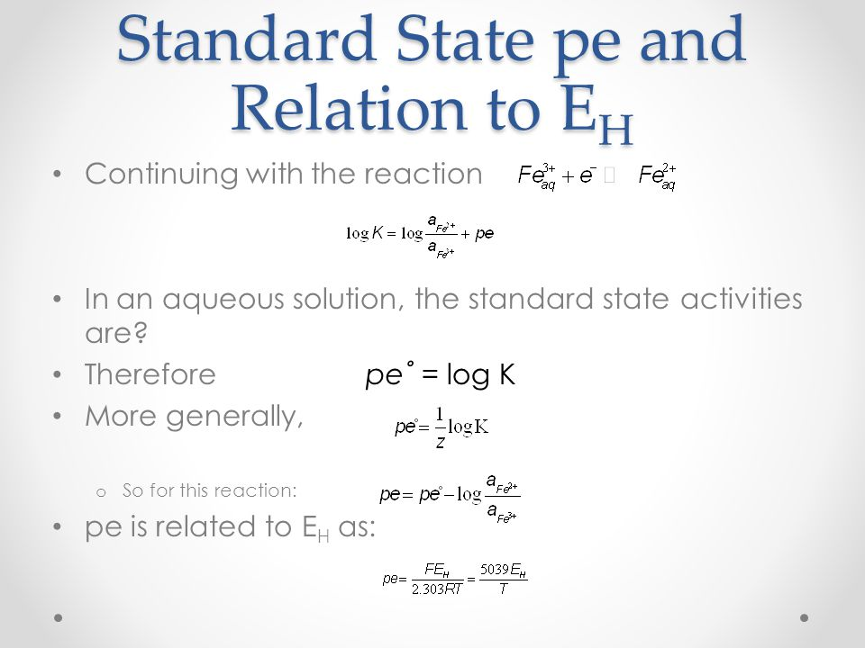 Standard State pe and Relation to EH