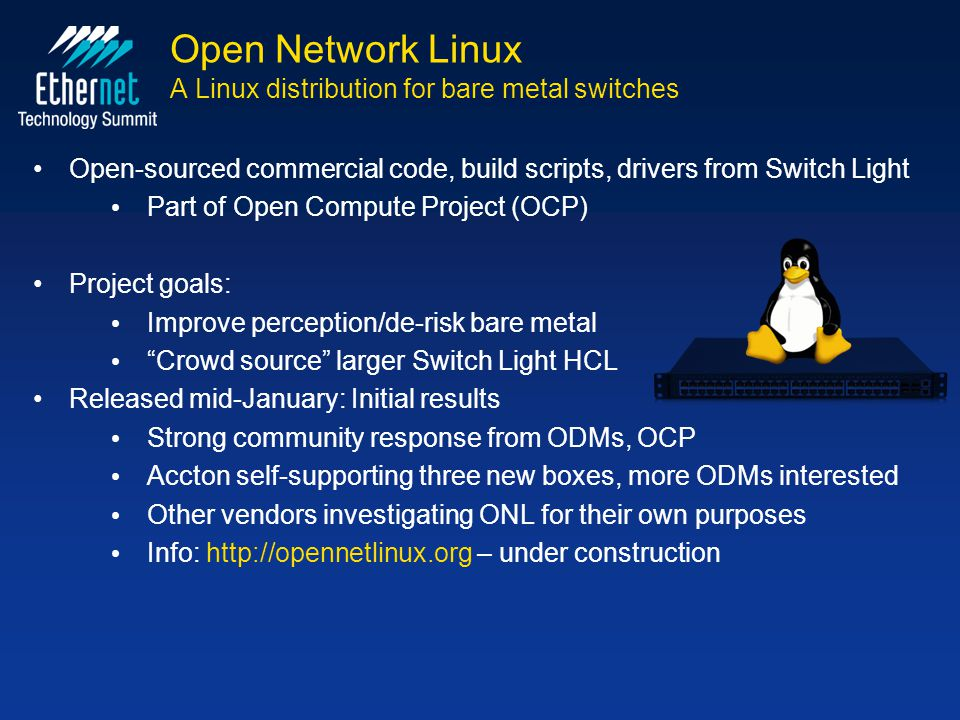 Open Network Linux A Linux distribution for bare metal switches