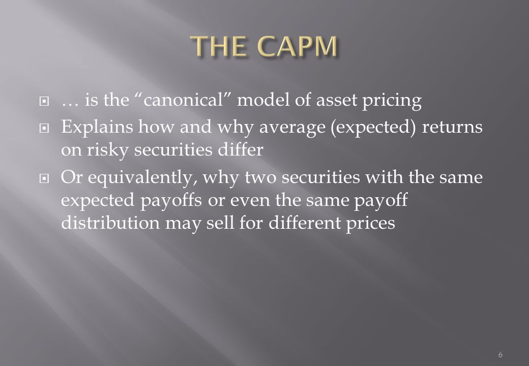 THE CAPM … is the canonical model of asset pricing