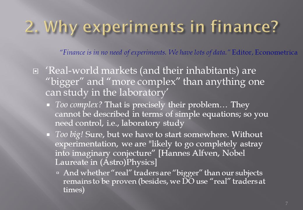 2. Why experiments in finance