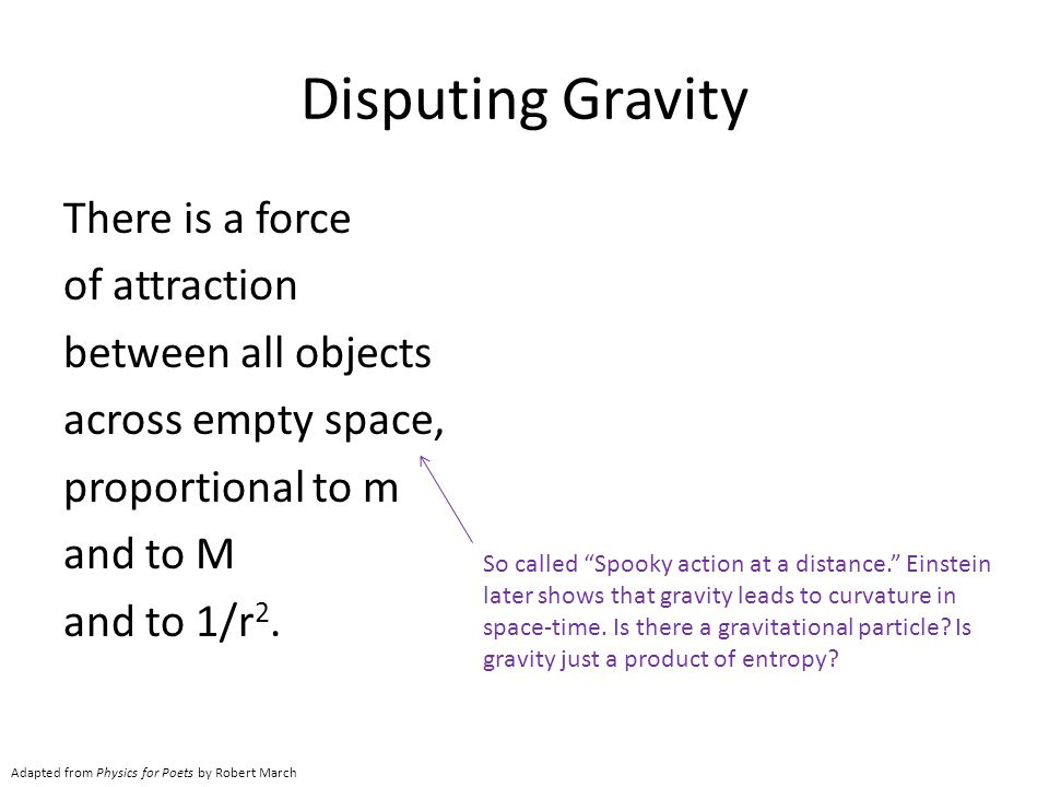 Disputing Gravity There is a force of attraction between all objects across empty space, proportional to m and to M and to 1/r2.