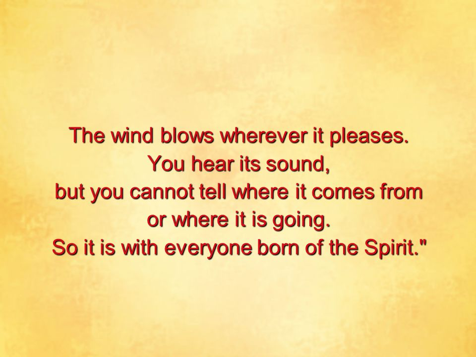The wind blows wherever it pleases. You hear its sound,